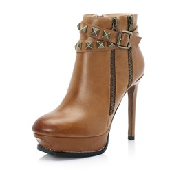 Shoespie Trendy Rivet Stiletto Heel Plain Round Toe Western Boots