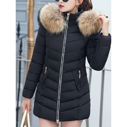 Faux Fur Thick Slim Mid-Length Women's Cotton Padded Jacket