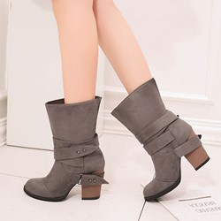 Shoespie Trendy Chunky Heel Round Toe Slip-On Cotton Boots