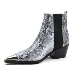 Shoespie Stylish Slip-On Pointed Toe Color Block Serpentine Boots