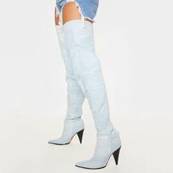 Shoespie Trendy Slip-On Pointed Toe Color Block Thread Western Boots