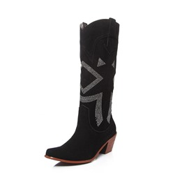 Shoespie Trendy Plain Chunky Heel Pointed Toe Short Floss Boots