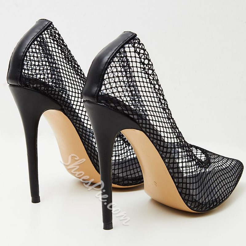 Shoespie Sexy Black Hollow Pointed Toe Stiletto Heel