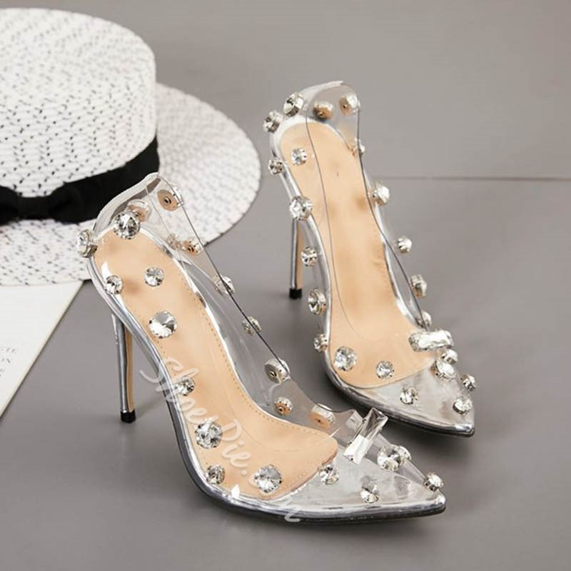 Shoespie Trendy Rhinestone Slip-On Western Clear Stiletto Heel