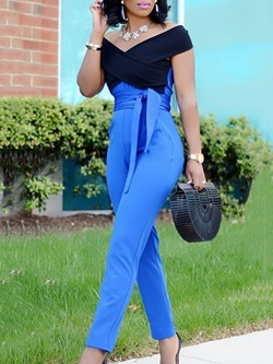 Full Length Casual Lace-Up Women's Jumpsuit