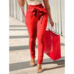 Plain Slim Lace-Up Full Length Women's Casual Pants