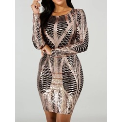 Above Knee Long Sleeve Print Bodycon Women's Dress