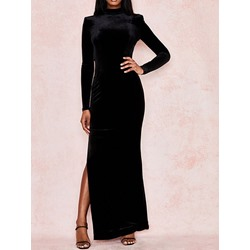 Backless Long Sleeve Stand Collar Bodycon Women's Dress
