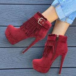 Shoespie Trendy Tassel Round Toe Side Zipper High Heels Boots