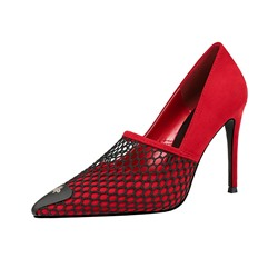 Shoespie Trendy Red Slip-On Low-Cut Upper Mesh Stiletto Heels