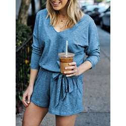 Lace-Up Plain Casual Loose Women's Rompers