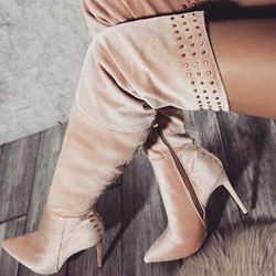 Shoespie Stylish Rhinestone Pointed Toe Side Zipper Casual Boots