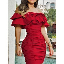 Short Sleeve Off Shoulder Above Knee Summer Women's Dress