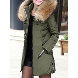 Slim Zipper Mid-Length Women's Cotton Padded Jacket