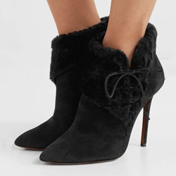 Shoespie Stylish Lace-Up Front Pointed Toe Suede Boots