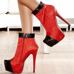 Shoespie Sexy Red Rhinestone Side Zipper Stiletto Heel Ankle Boots