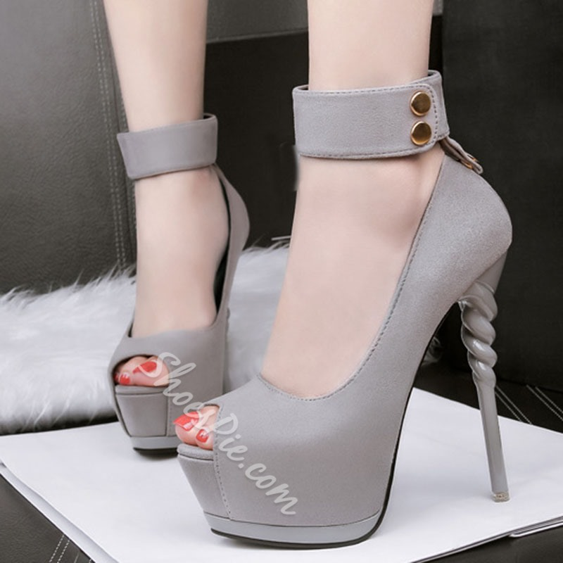 Shoespie Trendy Peep Toe Thread Stiletto Platform Heel