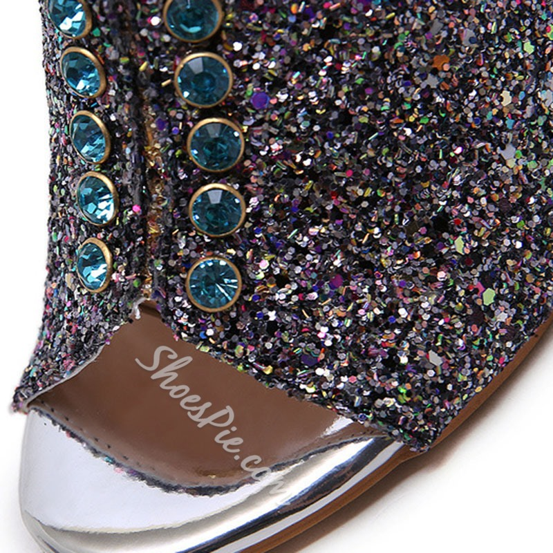 Shoespie Trendy Rhinestone Slip-On Fall Slippers