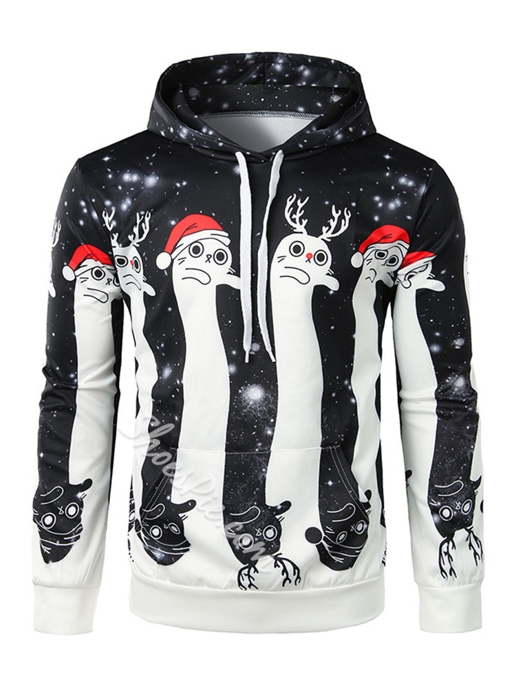 Cartoon Thick Print Casual Hooded Hoodies