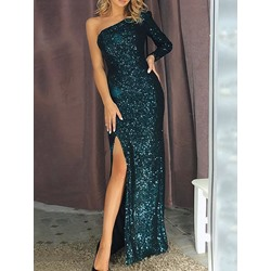 One Shoulder Ankle-Length Long Sleeve Oblique Collar Bodycon Women's Dress