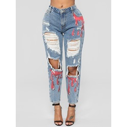 Hole Color Block Slim Women's Jeans