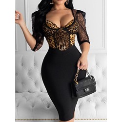 Knee-Length V-Neck Half Sleeve Mid Waist Women's Dress