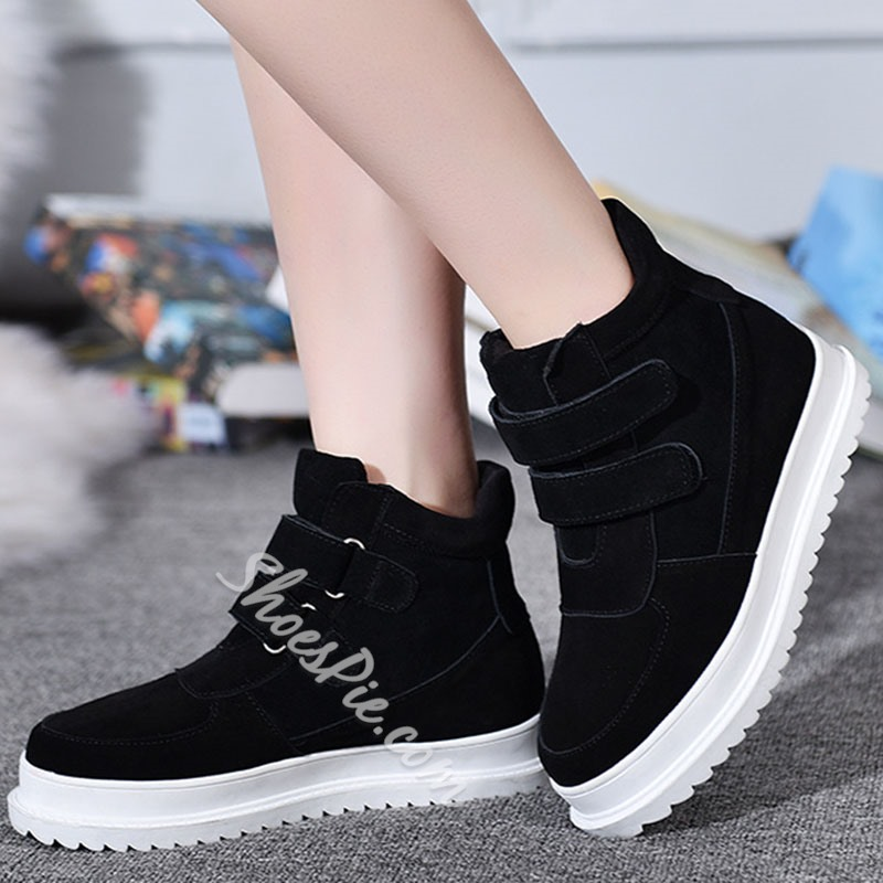 Shoespie Trendy Round Toe Velcro Thread Casual Sneakers