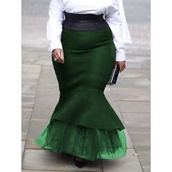 Plus Size Floor-Length Mermaid Patchwork Casual Women's Skirt
