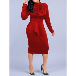 Bowknot Mid-Calf Long Sleeve Mid Waist Women's Dress