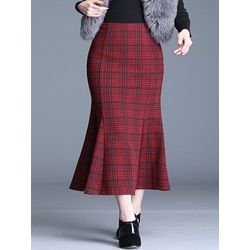 Mid-Calf Plaid Mermaid Casual Women's Skirt