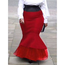 Plus Size Patchwork Floor-Length Mermaid Casual Women's Skirt