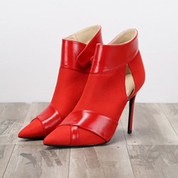 Shoespie Stylish Pointed Toe Plain Velcro Western Boots