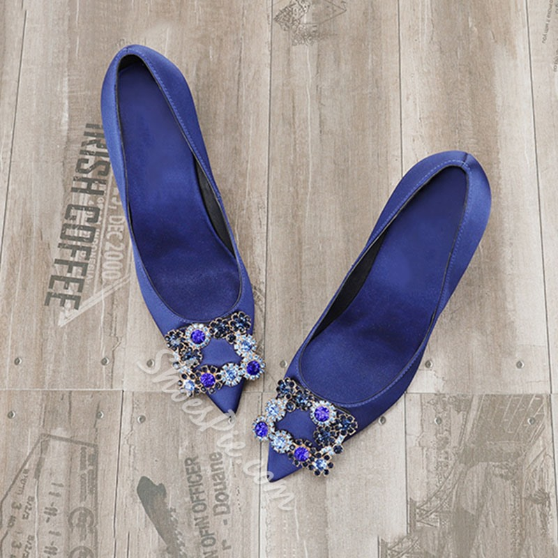 Shoespie Stylish Slip-On Pointed Toe Jewelry Decoration Banquet Stiletto Heels