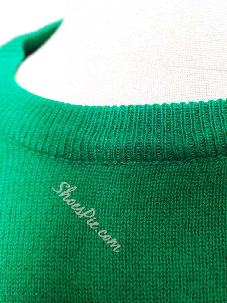 Letter Standard Round Neck Casual Loose Sweater
