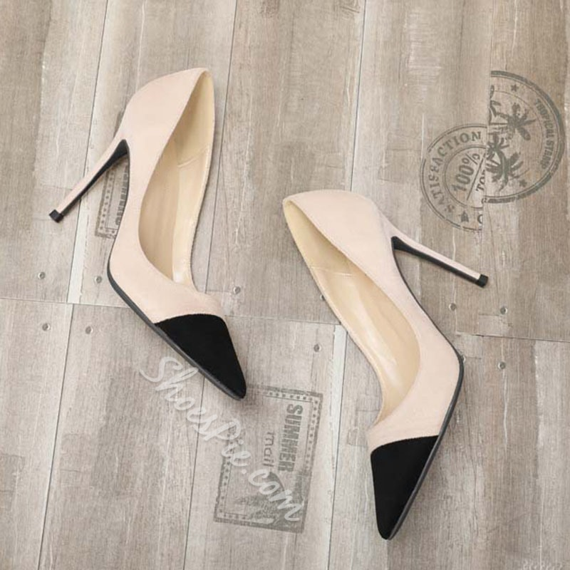 Shoespie Stylish Thread Pointed Toe Slip-On Simple Banquet Stiletto Heels