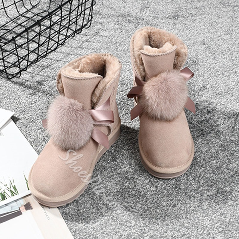Shoespie Stylish Round Toe Plain Slip-On Winter Casual Boots