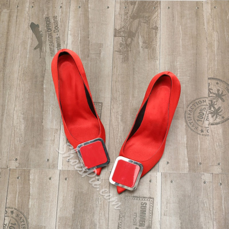 Shoespie Stylish Red Slip-On Elegant Stiletto Heels
