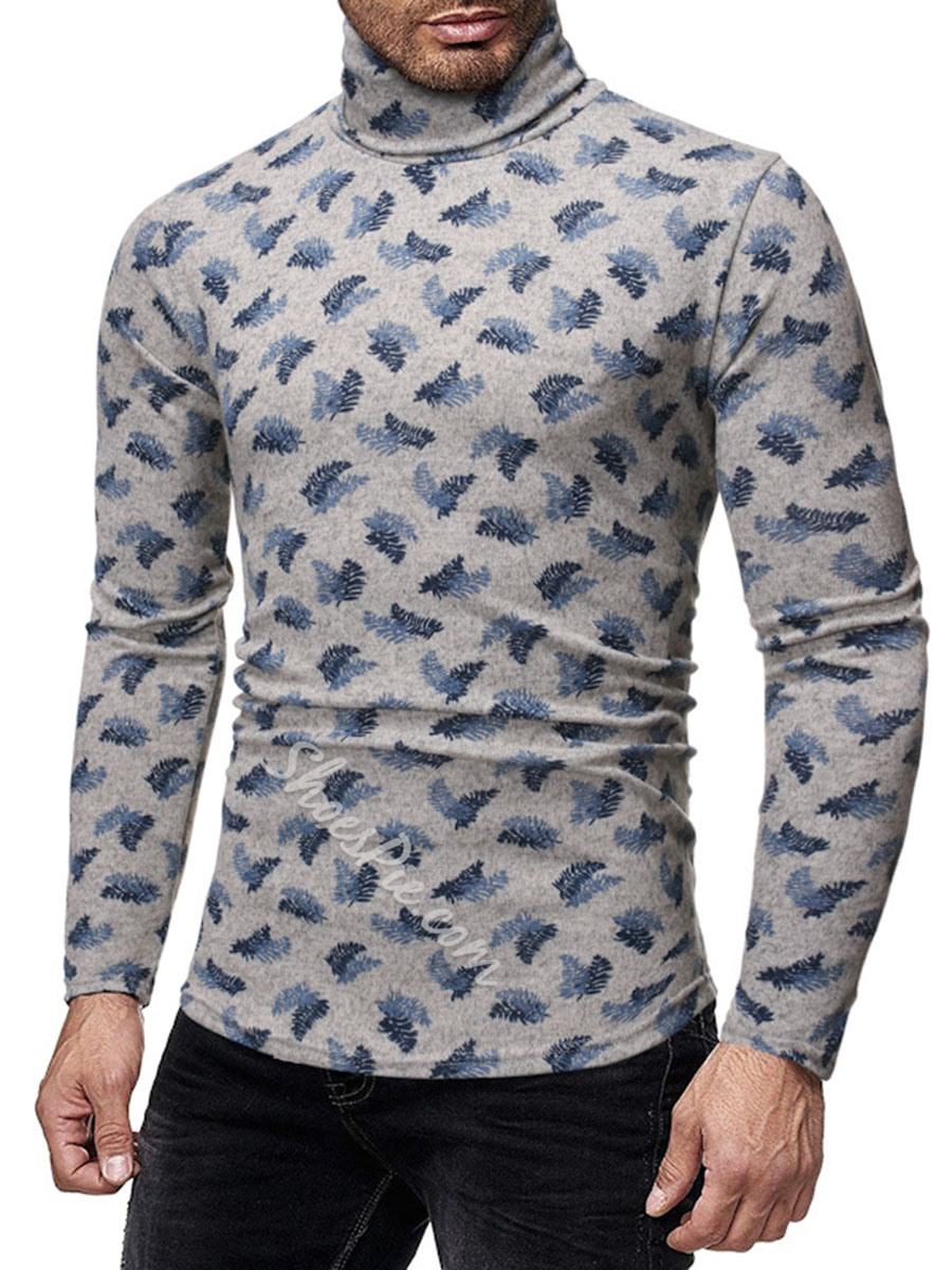 Turtleneck Print Casual Slim Long Sleeve T-shirt