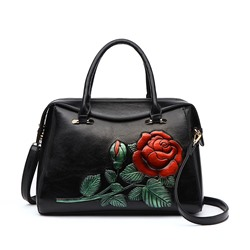 Shoespie Embossing Floral PU Rectangle Tote Bags