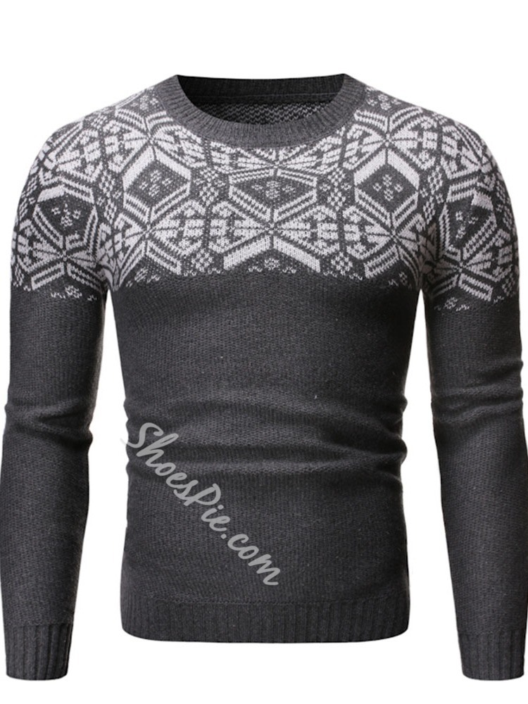 Round Neck Standard Print Casual Fall Sweater