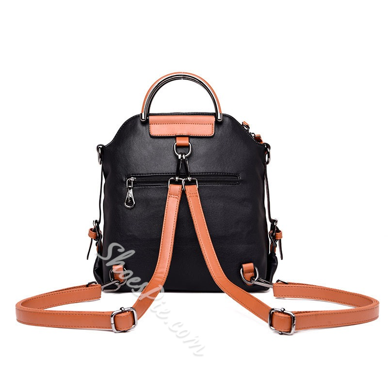 Shoespie Color Block PU Backpacks