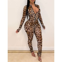 Full Length Leopard Skinny Women's Jumpsuit