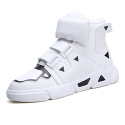 Shoespie Men's Platform Velcro Color Block Round Toe PU Skate Shoes