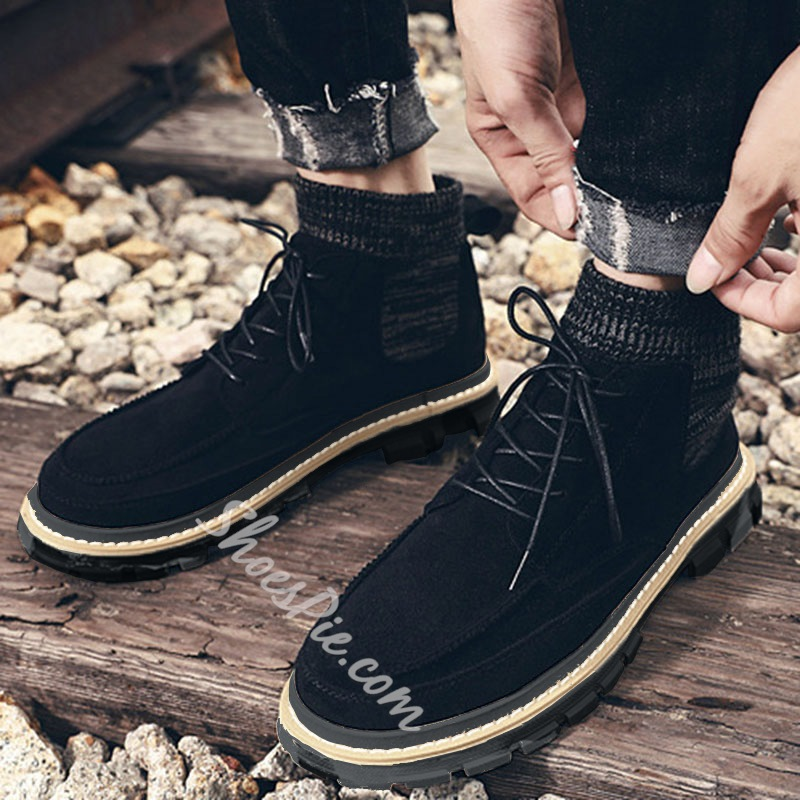 Shoespie Lace-Up Front Round Toe Patchwork Boots