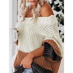 Loose Color Block Off Shoulder Women's Sweater