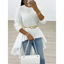 Plain Long Sleeve Elegant Women's Blouse