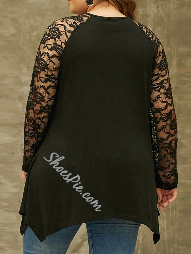 Black Lace Patchwork Plain Long Sleeve Women's Blouse