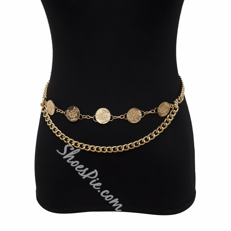 Female European Metal Western Waist Chains