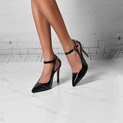 Shoespie Stylish Black Buckle Pointed Toe Stiletto Heels