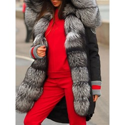Loose Thick Patchwork Faux Fur Long Women's Cotton Padded Jacket
